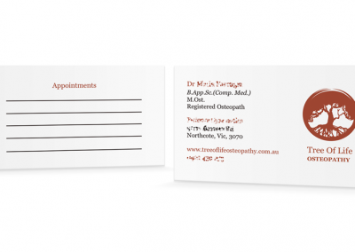 Tree of Life Osteopathy – Business Card